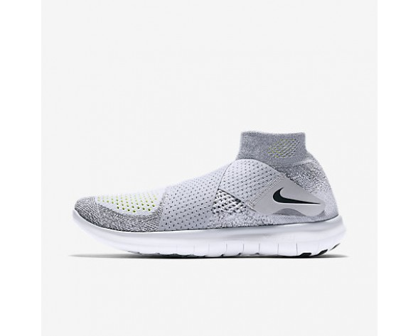 Chaussure Nike Free Rn Motion Flyknit 2017 Pour Femme Running Gris Loup/Gris Froid/Volt/Noir_NO. 880846-002