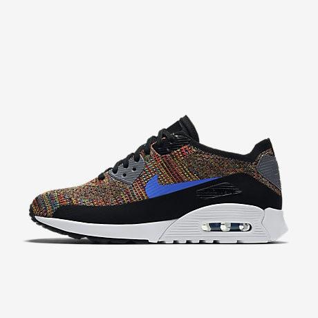 competitive price 2818b e3f12 Chaussure Nike Air Max 90 Ultra 2.0 Flyknit Pour Femme Lifestyle Noir Gris  Froid Blanc Bleu Moyen NO. 881109-001