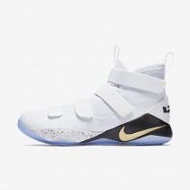 Chaussure Nike Lebron Soldier Xi Pour Homme Basketball Blanc/Noir/Or Métallique_NO. 897644-101