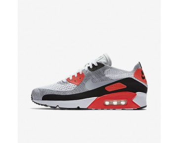 Chaussure Nike Air Max 90 Ultra 2.0 Flyknit Pour Homme Lifestyle Blanc/Cramoisi Brillant/Noir/Gris Loup_NO. 875943-100
