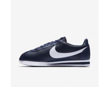 Chaussure Nike Classic Cortez Leather Pour Homme Lifestyle Bleu Nuit Marine/Blanc_NO. 749571-414