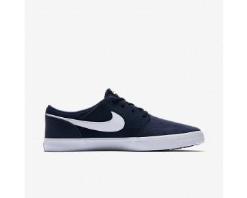 Chaussure Nike Sb Solarsoft Portmore Ii Pour Homme Skateboard Bleu Nuit Marine/Noir/Blanc_NO. 880266-410