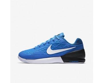 los angeles 6abe6 9278a Chaussure Nike Court Zoom Cage 2 Pour Homme Tennis Bleu Photo  Clair Noir Blanc NO