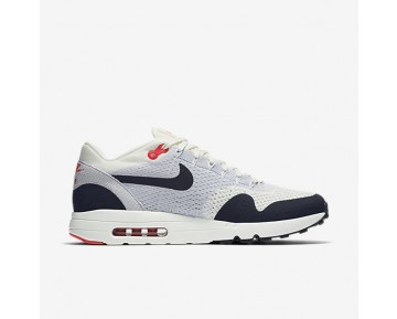 Chaussure Nike Air Max 1 Ultra 2.0 Flyknit Pour Homme Lifestyle Voile/Gris Loup/Rouge Université/Obsidienne_NO. 875942-100