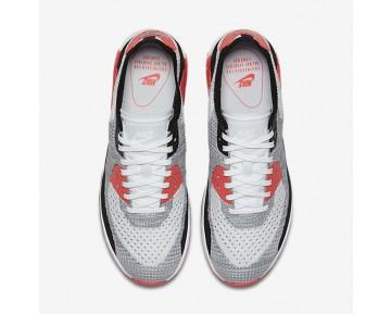Chaussure Nike Air Max 90 Ultra 2.0 Flyknit Pour Femme Lifestyle Blanc/Cramoisi Brillant/Noir/Gris Loup_NO. 881109-100