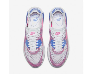 new products 229bb 5a059 Chaussure Nike Air Max 90 Ultra 2.0 Flyknit Pour Femme Lifestyle Blanc Bleu  Moyen