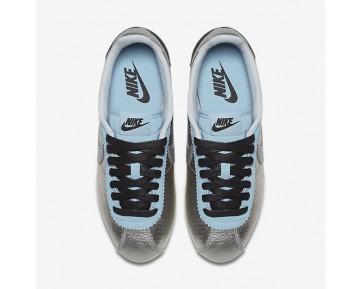 Chaussure Nike Classic Cortez Leather Premium Pour Femme Lifestyle Argent Métallique/Noir/Bleu Mica/Argent Métallique_NO. 833657-004