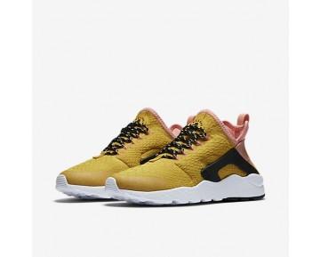 Chaussure Nike Air Huarache Ultra Se Pour Femme Lifestyle Jaune D'Or/Melon Brillant/Noir/Jaune D'Or_NO. 859516-700