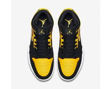 Chaussure Nike Air Jordan 1 Mid Pour Homme Lifestyle Noir/Blanc/Maïs Éclatant_NO. 554724-035