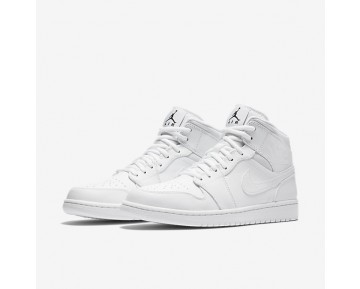 Chaussure Nike Air Jordan 1 Mid Pour Homme Lifestyle Blanc/Blanc/Noir_NO. 554724-110