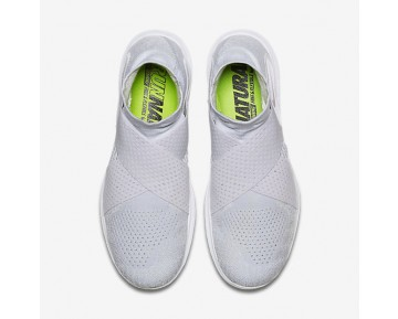 Chaussure Nike Free Rn Motion Flyknit 2017 Pour Homme Running Blanc/Platine Pur/Volt/Gris Loup_NO. 880845-100