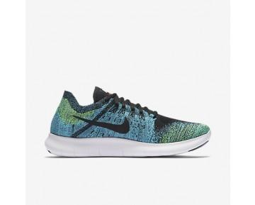 Chaussure Nike Free Rn Flyknit 2017 Pour Homme Running Bleu Chlorine/Volt/Noir/Noir_NO. 880843-004