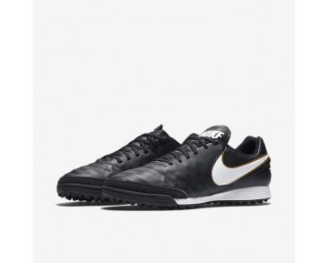 Chaussure Nike Tiempox Genio Ii Leather Tf Pour Homme Football Noir/Blanc_NO. 819216-010