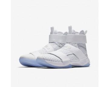 Chaussure Nike Lebron Soldier 10 Flyease Pour Homme Basketball Blanc/Argent Métallique/Bleu Glacé/Blanc_NO. 917338-110